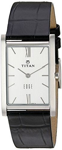 Titan Men's 'Edge' Quartz Stainless Steel and Leather Automatic Watch, Color:Black (Model: 1043SL01)