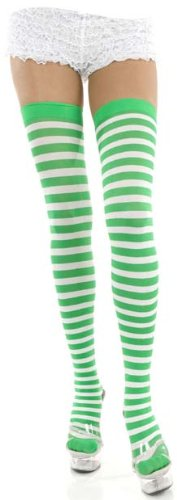 Green & White Striped Thigh High Stockings