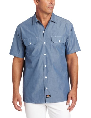 (Dickies Men's Short Sleeve Shirt, Blue Chambray, X-Large)