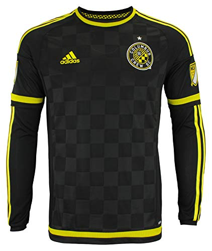 adidas Men's MLS Cllimacool Authentic Long Sleeve Jersey, Columbus Crew SC- Black Medium
