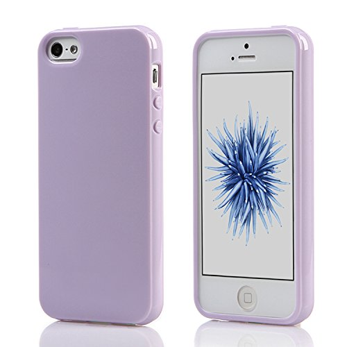 iPhone SE Case or iPhone 5S Case,Ultra Slim Silicone TPU Cover and Gloss Gel Flexible Soft bumper (Lavender)