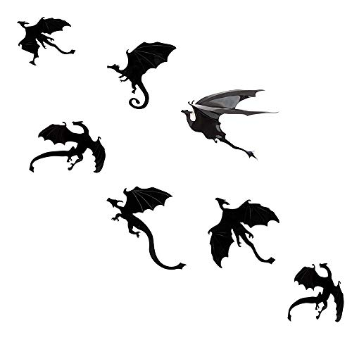 Megrocle 3D Dragon Wall Decor DIY Scary Black Dragon Wall Decals Removable Window Stickers Halloween PVC Party Supplies Decorations,14 pcs