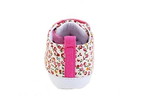 tfxwerws Fashion diseño de flores bebé niña antideslizante lienzo zapatillas (rosa)