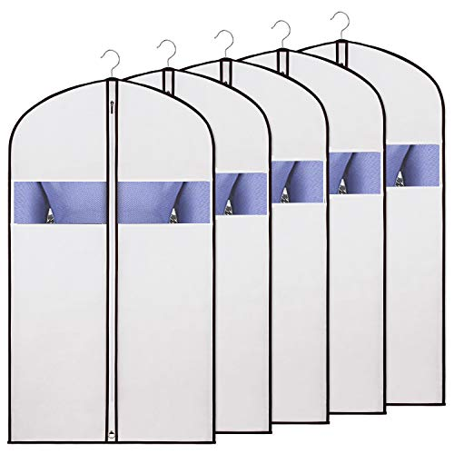Zilink Garment Bags Suit Bags for Storage and Travel 43 inch Dust-Proof Suit Cover with Sturdy Zipper and Clear Window for Suit, Dress, Jacket, Shirt and Coat (Set of 5)