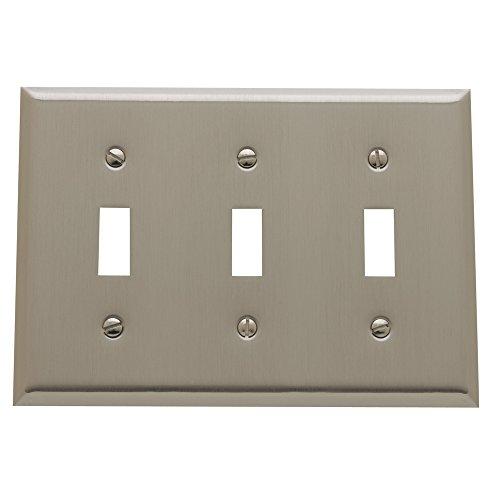 "Baldwin Estate 4770.150.CD Square Beveled Edge Triple Toggle Switch Wall Plate in Satin Nickel, 4.5""x6.5"""