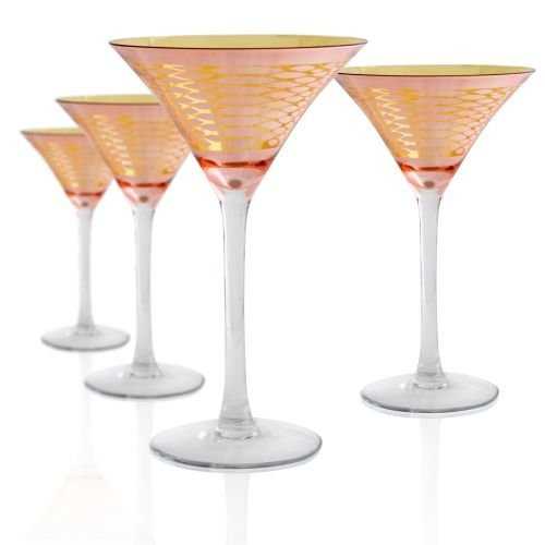 Artland 51033B Animal Skin Martini Glass, Set of 4, 8 oz, Rose/Gold