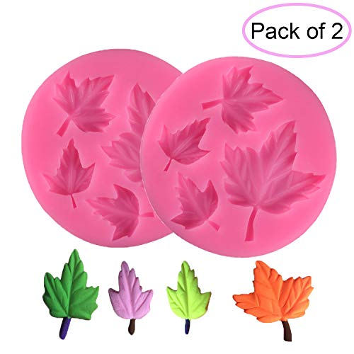 2 Sets Maple Leaves Silicon Molds Rubber Fondant Sugar Cupcake Decorating Mould Tools for Candy Chocolate Baking (Sugar Maple Candy Molds)