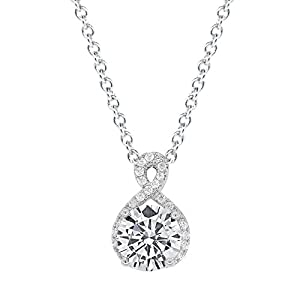 Cate & Chloe Amazon-Black-Friday-Sales-2018 Alessandra 18k White Gold CZ Halo Infinity Pendant Necklace, Best Round Diamond Solitaire Cubic Zirconia Crystal Silver Necklaces Special-Occasion Jewelry