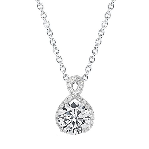 Cate & Chloe Amazon Day Prime 2018, Alessandra 18k White Gold CZ Halo Infinity Pendant Necklace, Best Round Diamond Solitaire Cubic Zirconia Crystal Silver Necklaces Special-Occasion Jewelry by Cate & Chloe