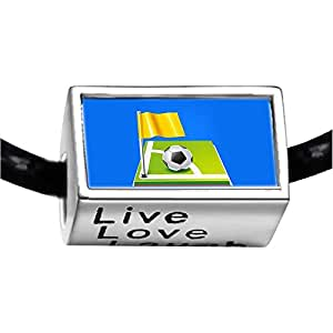 Chicforest Silver Plated UEFA Euro 2012 soccer ball with yellow flag Photo Live Love Laugh Charm Beads Fits Pandora Charm Bracelet