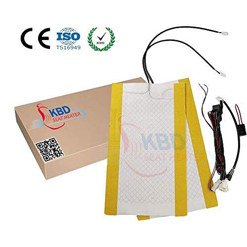 KBD Universal Car Seat Heater, Seat Warm System. Carbon Fiber Fast Heat Up Heating Pad, Circular Switch High/Low Setting (1-Seat)