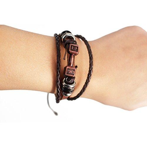 Rip Toned Dumbbell Bracelet - Stylish Multi-layer Motivational Fitness (Reve Finish)