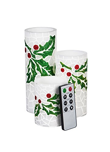 Holly Votives - Cypress Home Holly Decorated Battery Operated Flameless LED Wax Pillar Candle with Remote, Set of 3