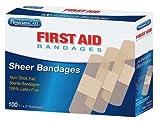 Adhesive Bandage, Sheer, Plastic, 1 in.