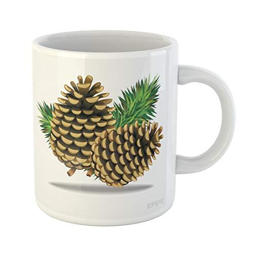 Tinmun 11 Oz Coffee Mug Brown Pinecone Pine Cones Needles Gymnosperms Celebration Christmas Clip Decor Lover Funny Mug Birthday Gift Coffee Tea Cup Mugs (Best Time To Plant Conifers)