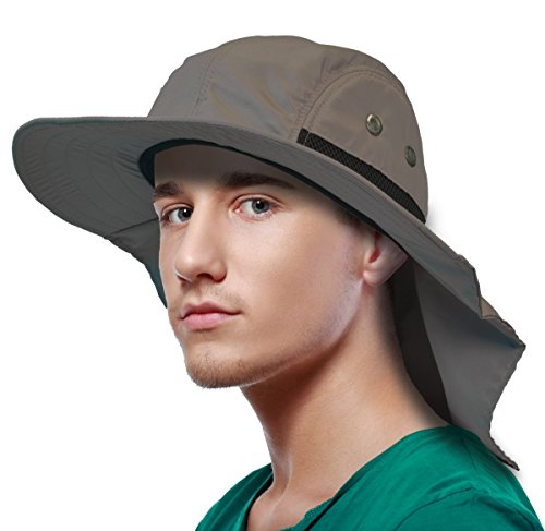 Sun Blocker Outdoor Sun Protection Fishing Cap with Neck Flap Wide Brim Hat for Safari Hiking Hunting Boating and Outdoor Adventures, Khaki