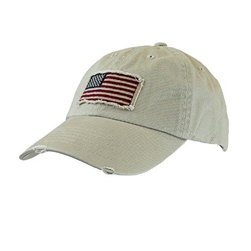 khaki-tan-cotton-twill-hat-vintage-frayed-american-flag-baseball-cap-unisex