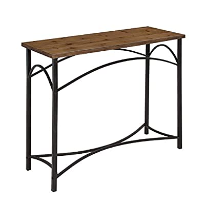 Kate and Laurel Strand Console Table, Rustic Wood Top with Iron Legs - The Kate and Laurel Strand Console Table is made of a durable but lightweight wood with a distressed brown finish. The stylishly crafted iron legs were designed with curved ornate detail, creating strength as well as beauty At 30 inches tall x 36 inches long and 13 inches deep this versatile console would fit perfectly behind the couch or in your entryway. It would work nicely in a bathroom, kitchen or in the bedroom as a TV stand for yourself The slick 2-tone profile creates a chic contour and makes this piece of furniture look great with any home décor - living-room-furniture, living-room, console-tables - 41jQ7R66JPL. SS400  -