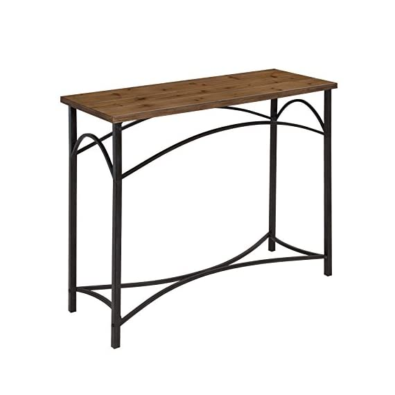 Kate and Laurel Strand Console Table, Rustic Wood Top with Iron Legs - The Kate and Laurel Strand Console Table is made of a durable but lightweight wood with a distressed brown finish. The stylishly crafted iron legs were designed with curved ornate detail, creating strength as well as beauty At 30 inches tall x 36 inches long and 13 inches deep this versatile console would fit perfectly behind the couch or in your entryway. It would work nicely in a bathroom, kitchen or in the bedroom as a TV stand for yourself The slick 2-tone profile creates a chic contour and makes this piece of furniture look great with any home décor - living-room-furniture, living-room, console-tables - 41jQ7R66JPL. SS570  -
