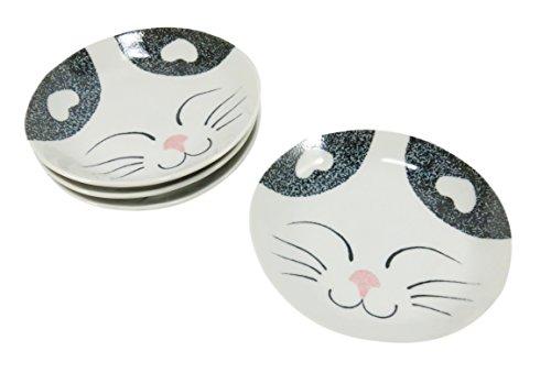 Small Bread Plate (Salad Dessert Bread Cat Plate Porcelain 5.5 x 5.5 Blue (Set of 4))