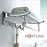 FORTUNE Stainless Steel Folding Towel Rack 24 inch (Steel-Glossy Sign)