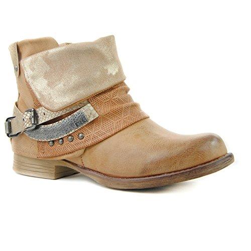 Damen Worker Stiefeletten Boots Stiefel Bier Nieten Schnallen Outdoor ST344 Camel