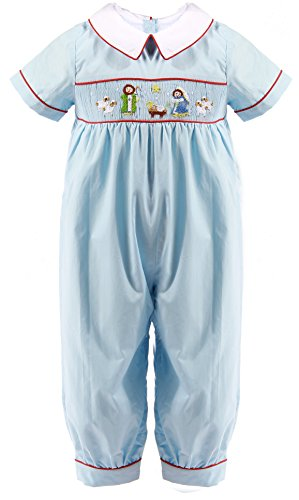 Babeeni Romper for Boys Featured with Baby Jesus Smocked Pattern on the Chest in Blue Plain Baby Long Bubble (12M) (9M)