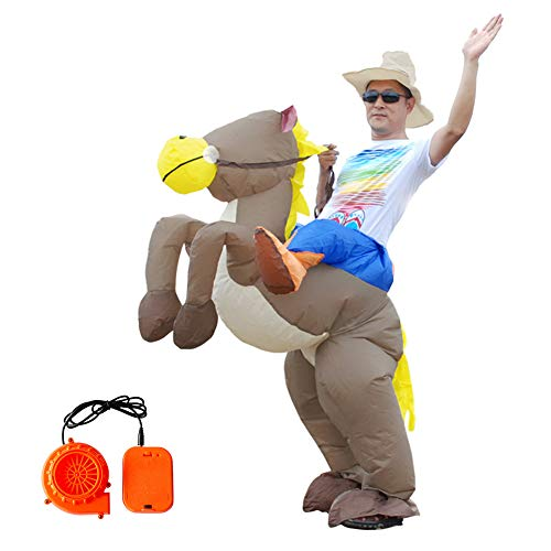 MaiYi Adult & Kids Funny Inflatable Horse Rider Costume Halloween Cosplay Costume Prop -