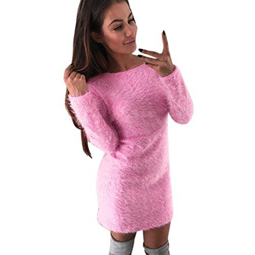 Discount Zikong Women Winter Long Sleeve Solid Sweater Fleece Crew Neck Warm Basic Short Mini Dress Body Con Dress hot sale