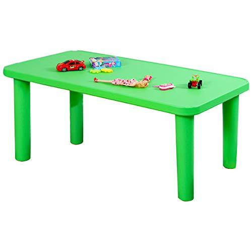 Costzon Kids Plastic Table, Portable Plastic Learn and Play Table for School Home Play Room, Activity Play Table (Green, 1 Rectangle Table)