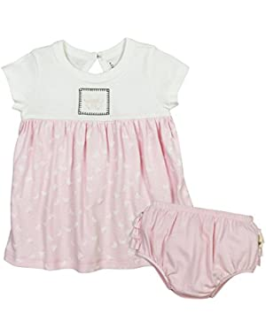 Baby Girls' Organic Short Sleeve Dress and Diaper Cover