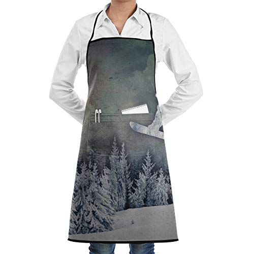 LALACO-Design The Snowboarder Cooking Women Kicthen Bib Aprons