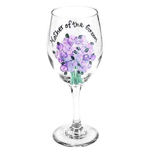 (Personalized Mother of the Bride or Mother of the Groom Wine Glass, Gift For Mother or the Bride or Groom, Customized Colors to match your Wedding or Moms Favorite)
