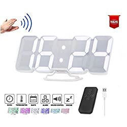 Digital LED Alarm Clock Desktop/Wall Clock w/ 3-Level Brightness & 115 Color Changing LED Display. 2-Display Modes, 12/24 Hour Display, Date & Temperature °C/°F, Voice Control & Remote Control (White)
