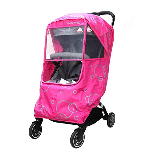 - Wonder buggy Universal Stroller Weather Shield Rain Cover with Bubble,Waterproof, Windproof Protection, Travel-Friendly, Outdoor Use, Easy to Install and Remove (Pink)