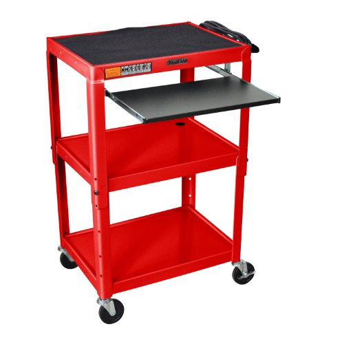 Luxor Mobile Stand Up Computer Desk Workstation Cart in Red Steel
