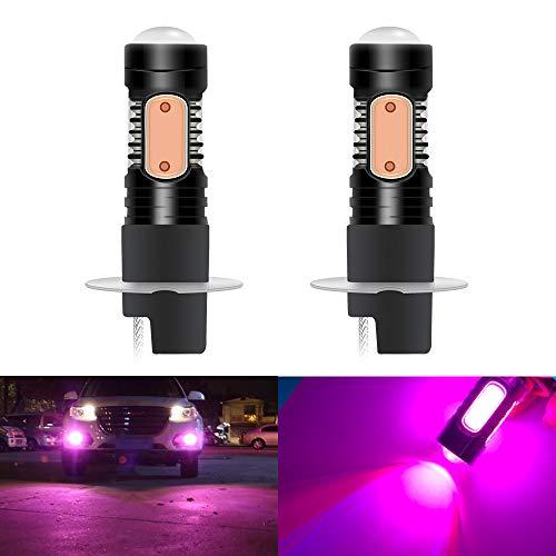 - 2pcs H3 LED Aluminum Fog Light Bulb Super Bright 7.5W COB 12V Auto Lamp Driving Lights DRL Replacement Pink