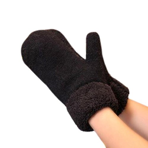 DZT1968 Women's Girl's Winter Thick Hand Keep Warm Mittens Gloves (Black)