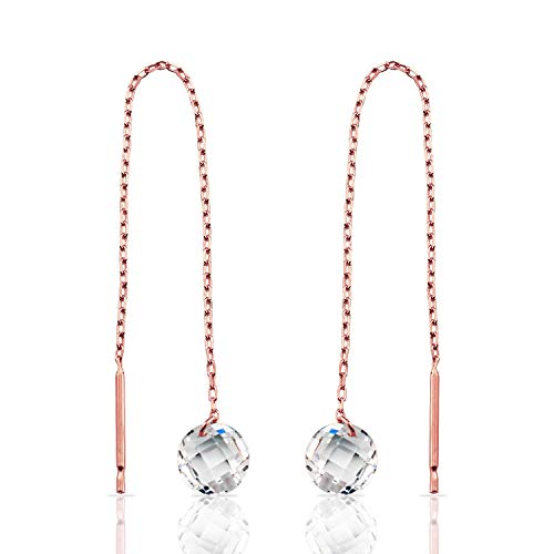 Real 14k Rose Gold Threader Style Earrings with Circle Brio CZ for Women and Girls