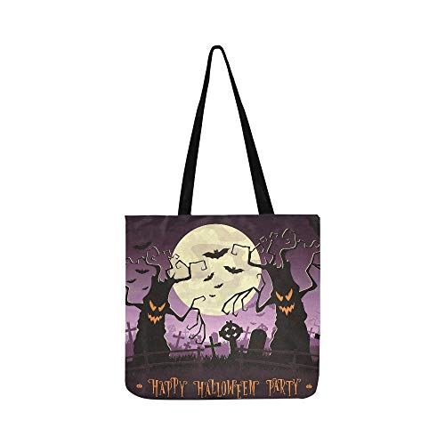 Halloween Full Moon Dead Trees Bat Party Canvas Tote Handbag Shoulder Bag Crossbody Bags Purses For Men And Women Shopping Tote ()