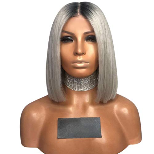 FDBZJP Wigs for Women Sexy Gradient Gray Party Wig Short Bob Wig Brazilian Virgin Human Hair Wig Synthetic Wig For Cosplay, Costume, Fashion, Daily Use, Parties (14 inch)