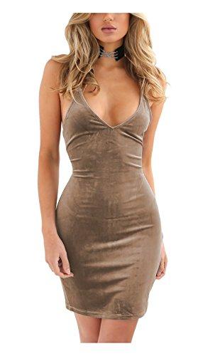 Zyyfly Doramode Womens Spaghetti Strap Bodycon Sleeveless Backless Velvet Sexy Short Club Dress Khaki (Sexy Khaki Club Dress)