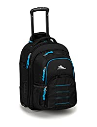 High Sierra Ultimate Access Wheeled Backpack with Removable Daypack, Black/Blueprint, International Carry-On