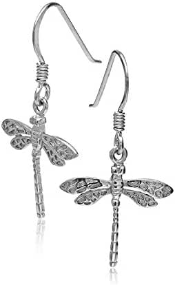 925 Sterling Silver Dragonfly Rhodium Plated Hook Earring, Jewelry for Women-Nickel Free