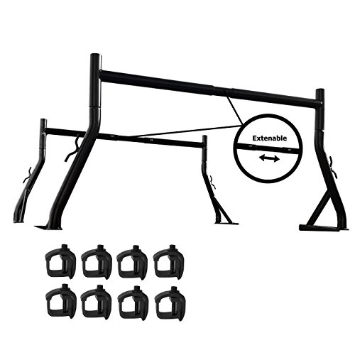AA-Racks X35 Truck Rack with (8) Non-Drilling C-Clamps Pick-up Truck Utility Ladder Rack Matte Black