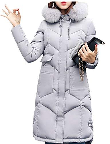 TTYLLMAO Parka Warm Light Jackets Grey Zipped Down Hooded Button Coat Outwear Womens RSqrTR