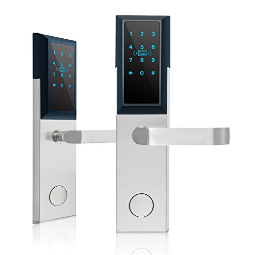 Keyless Entry Door Lock by Kutir - Smart RFID, Digital Keypad, Magnetic Card System with Mechanical Key - Electronic Backlit Touchscreen Smart Handle for Front Door Office/Home / Garage/Bedroom