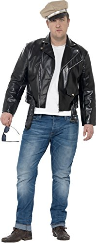 Costume Greaser 50's (Smiffy's Men's 1950's Rebel Costume, Jacket and Hat, Rockin' 50's, Serious Fun, Plus Size XL,)