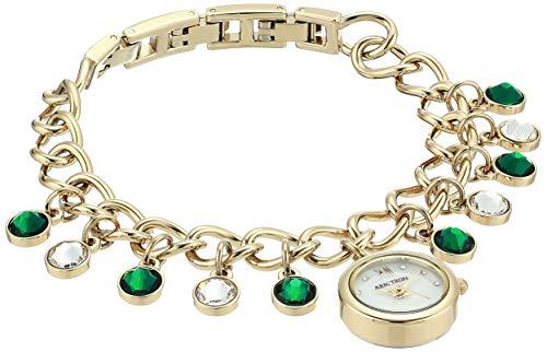 - Armitron Women's 75/5652MPGP Swarovski Crystal Accented Gold-Tone Charm Bracelet Watch