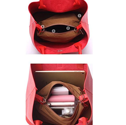 Mujer Otoño Invierno Relieve Inclinado Hombro Bolsa Bolso Pink